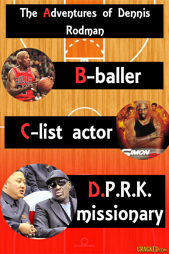 The Adventures of Dennis Rodman B-baller BULLS (-list actor IMON D.P.R.K. missionary CRACKED COM