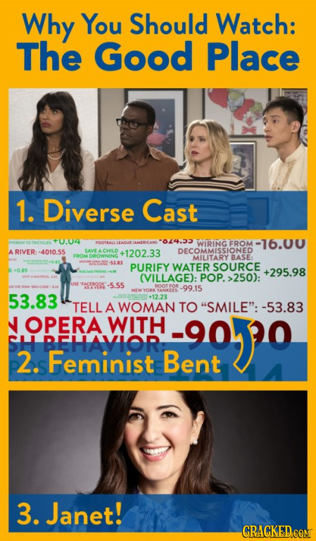 Why You Should Watch: The Good Place 1. Diverse Cast TROYES 40.04 AMERICANE -024.33 LEACUT FROM -16.00 ARIVER:-4010.55 SAVE A CHILD +1202.33 EROM DROW