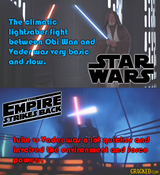 The climatic lightsaber fight between Obi Wan and Vader wns very basic STAR and slow. WARSl THEL EMPIRE STRIKESBACK luke Vs Vader wGS lot quiclser and