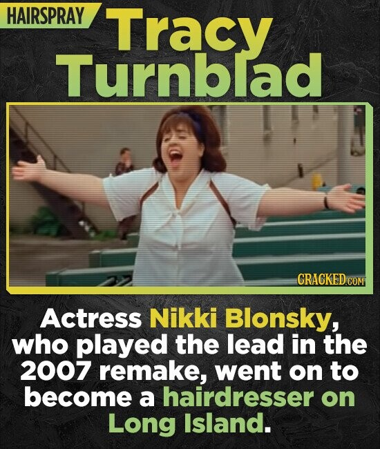 HAIRSPRAY Tracy Turnblad Actress Nikki Blonsky, who played the lead in the 2007 remake, went on to become a hairdresser on Long Island.