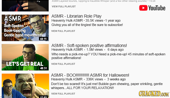 ASMH avered sounas iapping insudibie wMSDOT (and otner sounds VIEW FULL PLAYLIST YouTube ASMR ASMR - -Librarian Role Play Heavenly Hulk ASMR views yea