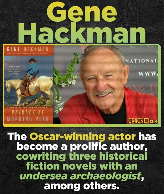Gene Hackman G ENE HACKMAN NATIONAL F WWW NNG T ANOVEL O YE AMERICAN OWY PAYBACK AT MORNING PEAK CRACKED CON The Oscar-winning actor has become a prol