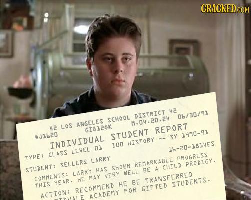 CRACKED 42 DISTRICT 06/30/91 SCHOOL ANGELES M.04.20.2u 2 LOS GI8120K REPORT #J1620 STUDENT SY 1990-91 INDIVIDUAL HISTORY 100 01 LEVEL 16-20-1814ES CLA