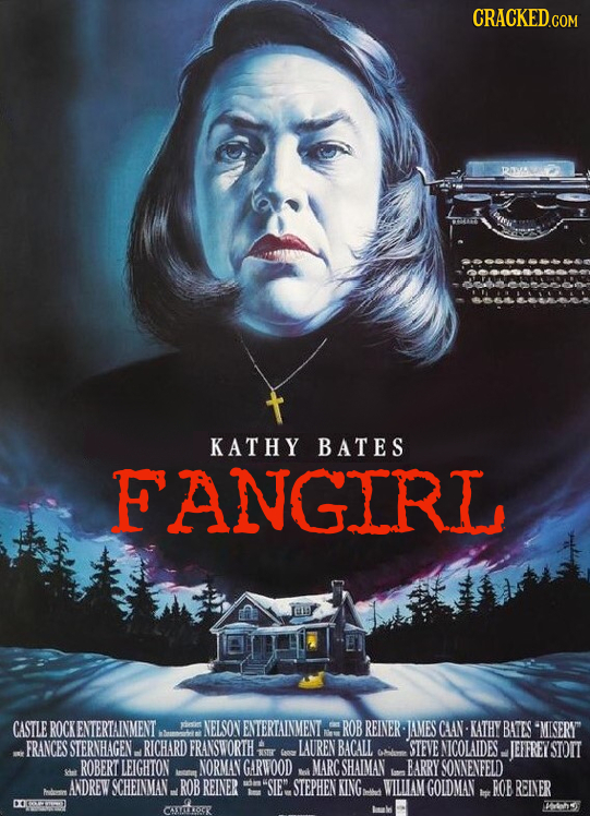 KATHY BATES FANGIRL CASTLE ROCK ENTERTAINMENT aesit NELSON ENTERTAINMENT ROB REINER IAMES CAAN- KATHY BATES MISERY FRANCES STERNHAGEN. RICHARD FRANSW