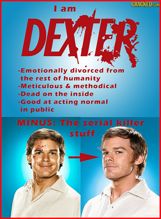 I am DEXTER -Emotionally divorced from the rest of humanity -Meticulous & methodical -Dead on the inside -Good at acting normal in public MINUS: The s