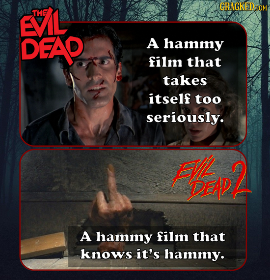 EVIL CRACKEDOO THE DEAP A hammy film that takes itself too seriously. FVL HpP2 A hammy film that knows it's hammy.
