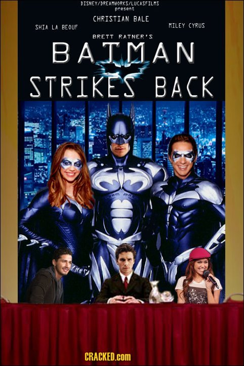 DISNEY/DREAMVORKS/LUCASFILMS presont CHRISTIAN BALE SHIA LA BEOUF MILEY CYRUS BRETT RATNER'S BATMAN STRIKES BACK CRACKED.COM