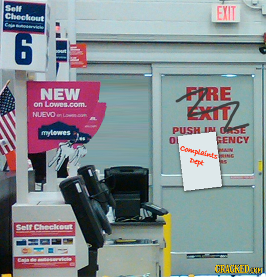Solf EXIT Checkout Cale uocervicle 6 sout NEW FPRE on Lowes.com. EXIT NUEVO en Loen l mylowes PUSH IN ASE O1 GENCY Complaints MAIN BRING Dept Selr Che