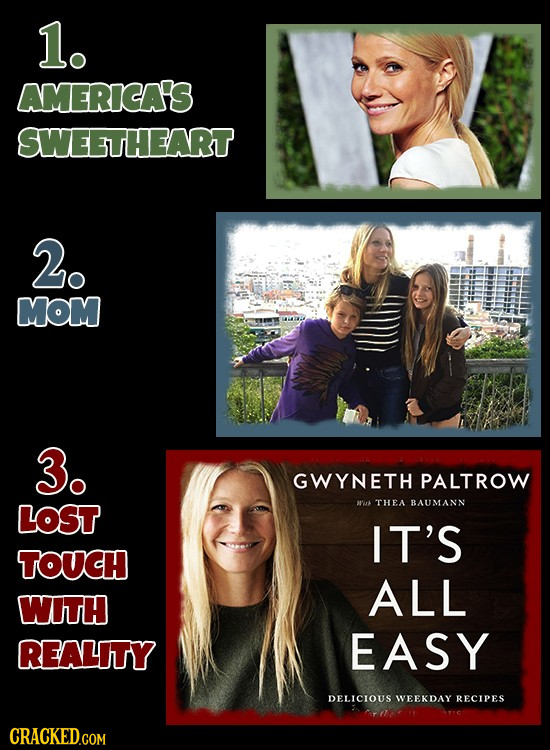 1. AMERICA'S SWEETHEART 2. MOM 3. GWYNETH PALTROW LOST Bk THEA BAUMANN IT'S TOUCH ALL WITH REALITY EASY DELICIOUS WEEKDAY RECIPES CRACKED.COM