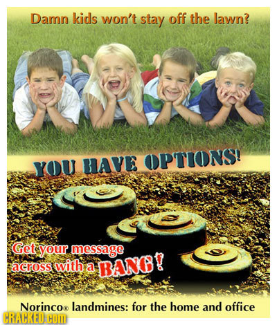 Damn kids won't stay off the lawn? OPTIONS! YOU RIAVE Get your message across with a BANB? Norincor landmines: for the home and office CRACKED HOM