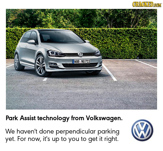 CRAGKED WOB NG211 Park Assist technology from Volkswagen. We haven't done perpendicular parking yet. For now, it's up to you to get it right.