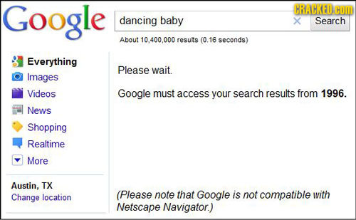 Google CRACKED. COM dancing baby X Search About 10,400.000 results (0.16 seconds) Everything Please wait. Images Videos Google must access your search