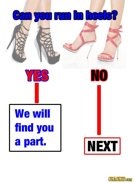 Can you run in heels? YES NO I We will find you a part. NEXT CRACKEDCON