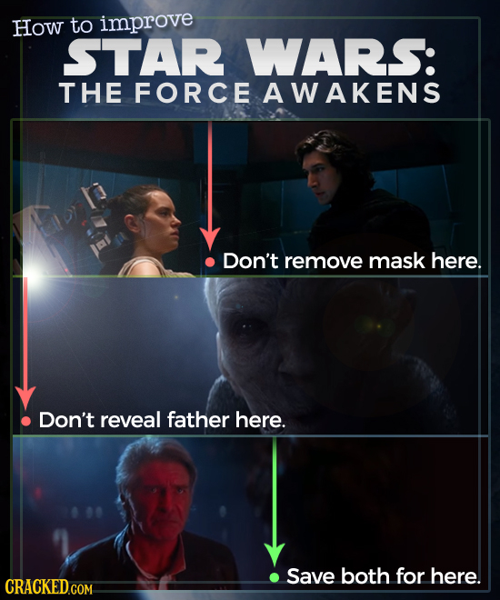 How to improve STAR WARS: THE FORCE AWAKENS Don't remove mask here. Don't reveal father here. Save both for here.