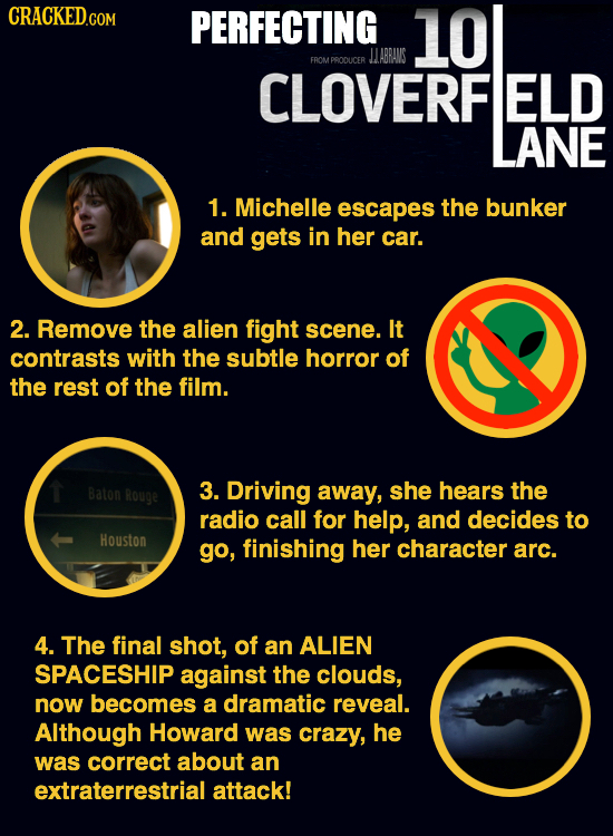 PERFECTING 10 LLABRANS FROMPPODUCER CLOVERF ELD LANE 1. Michelle escapes the bunker and gets in her car. 2. Remove the alien fight scene. It contrasts