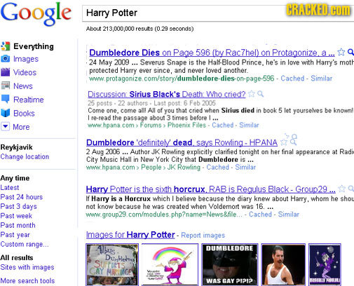 Google CRACKED Harry Potter COM About 213.000.000 fesute (0.29 seconds) Everything Dumbledore Dies on Page 596 (by Rac7hel) on Protagonize. Images 24