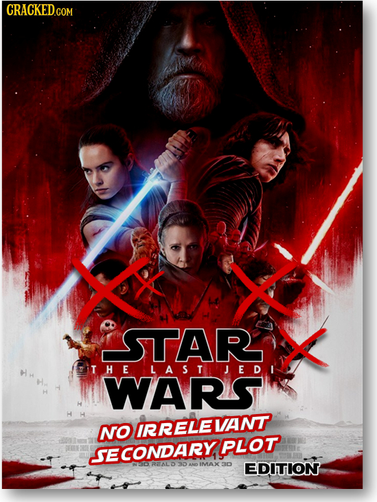 CRACKED.COM STAR THELASTJEDI WARS H H LH NO IRRELEVANT PLOT SECONDARY 3DANO IMAX 3D EDITION