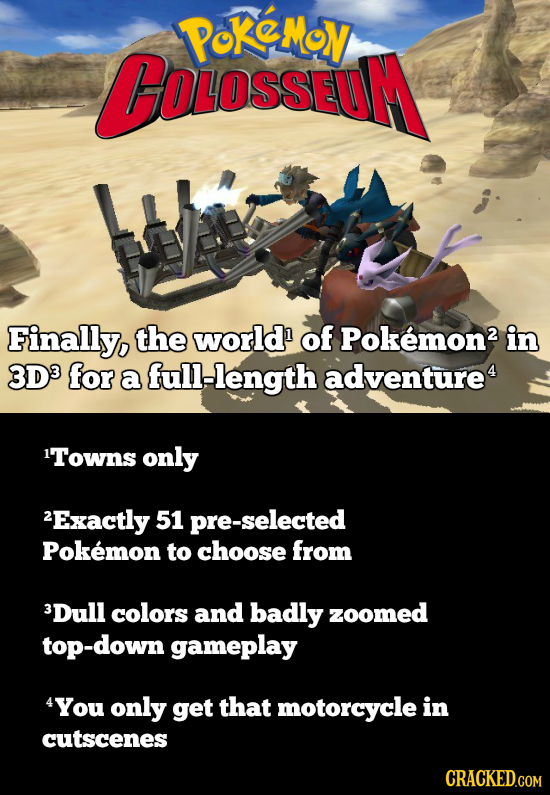 PoKeMoy BOLosseuM Finally, the world of Pokemon2 in 3D3 for a full-length adventure4 1Towns only 2Exactly 51 pre-selected Pokemon to choose from 3Dull