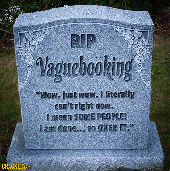 RIP Vaguebooking Wow, just mow. literally cam' right mom. E erean SOME PEOPLE E am dome. SG OVER FT.O CRACKED COM