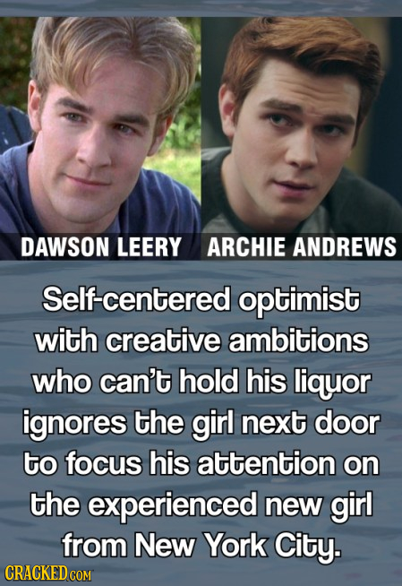 DAWSON LEERY ARCHIE ANDREWS Self-centered optimist with creative ambitions who can't hold his liquor ignores the girl next door to focus his attention