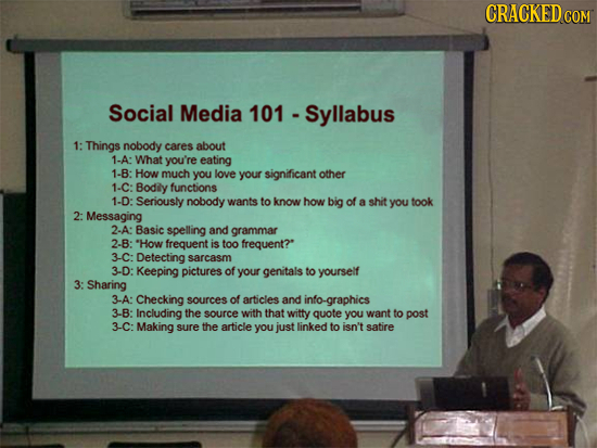 CRACKEDo COM Social Media 101 - Syllabus 1: Things nobody cares about 1-A: What you're eating 1-B: How much you love your significant other 1-C: Bodil