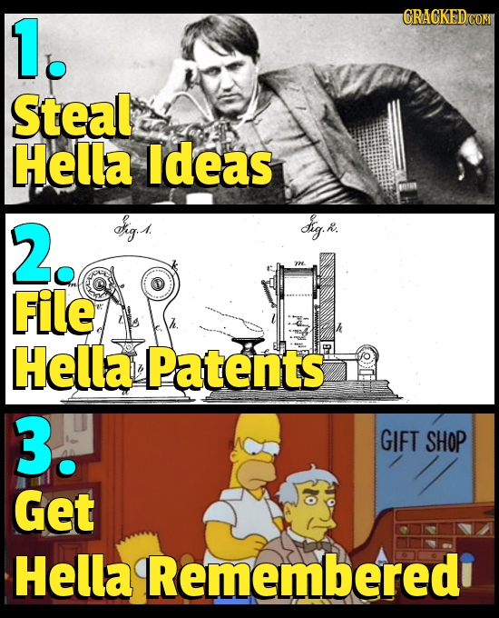 1. CRACKEDCON Steal Hella ldeas 2. arg g: R. File Hella Patents 3. GIFT SHOP Get Hella Rememberedi