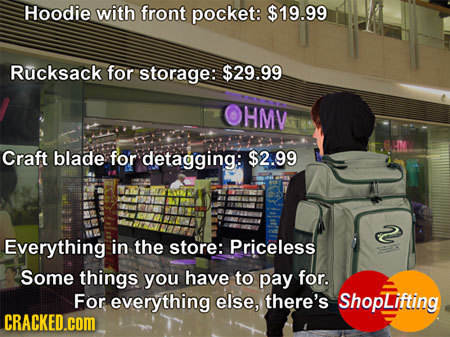 Hoodie with front pocket: $19.99 Rucksack for storage: $29.99 HMV Craft blade for detagging: $2.99 2 Everything in the store: Priceless Some things yo