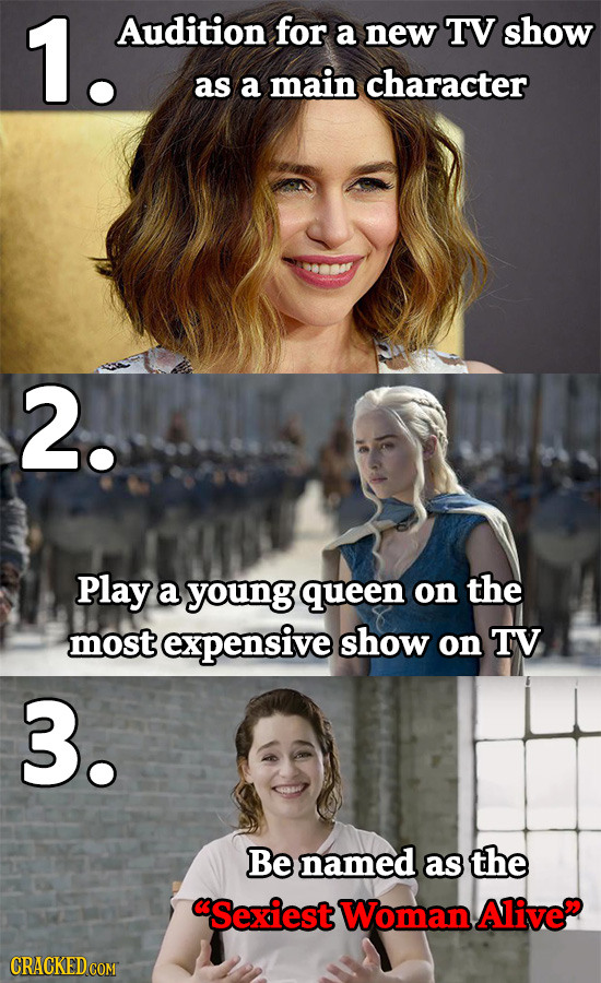1. Audition for a new TV show as a main character 2. Play a young queen on the most expensive show on TV 3. Be named as the Sexiest Woman Alive CRACK