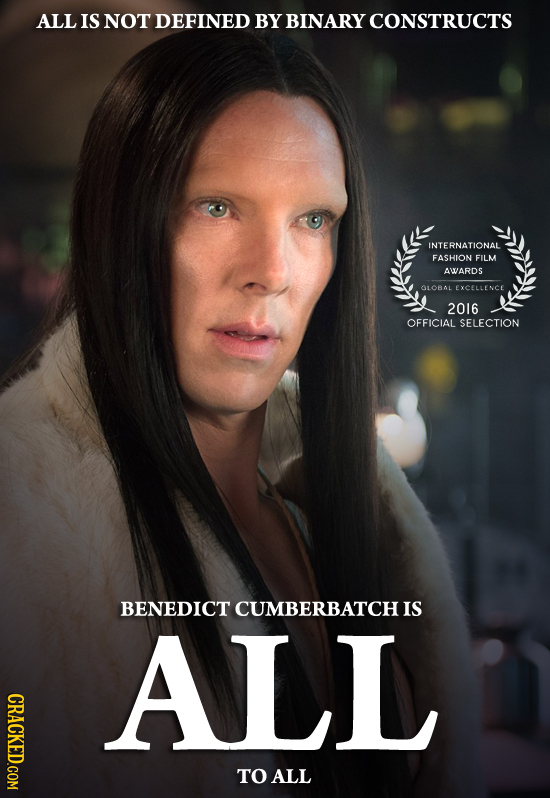 ALL IS NOT DEFINED BY BINARY CONSTRUCTS INTERNATIONAL FASHION FILM AWARDS GLOBAL EXCELLENCE 2016 OFFICIAL SELECTION BENEDICT CUMBERBATCH IS ALL CRACKE