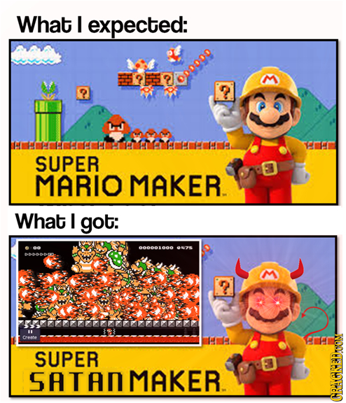 What I expected: SUPER MARIO MAKER. What I got: 00 000001 000 uzE 666DO 7 cronte SUPER MAKER. W CRACKEDOON