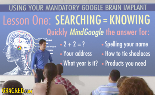 USING YOUR MANDATORY GOOGLE BRAIN IMPLANT Lesson One: SEARCHING KNOWING Quickly Mind Google the answer for: EAA 2+2=? Spelling your name LVA Your addr