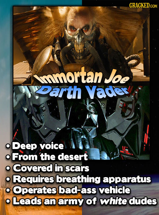 CRACKED.COM mmortan Joe yearth Vader Deep voice From the desert Covered in scars Requires breathing apparatus Operates bad-ass vehicle Leads an army o