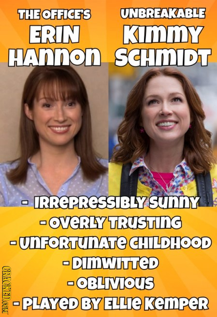 THE OFFICE'S UNBREAKABLE ERIN KiImMY HAnnon SCHMIDT 44 - IRREPRESSIBLYS sunny OveRLY TRuSting -UNFORTUNATE CHILDHOOD DIMWITTED CRACKED.COM OBLIVIOUS P