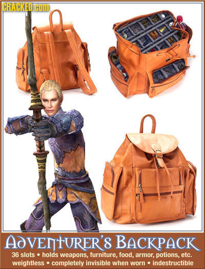 CRACKED COM 5ab AdVentURER'S BACKPACK 36 slots holds weapons, furniture. food, armor, potions, etc. weightless completely invisible when worn indestru