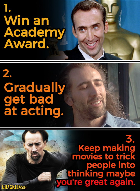 1. Win an Academy Award. 2. Gradually get bad at acting. 3. Keep making movies to trick people into thinking maybe you're great again.