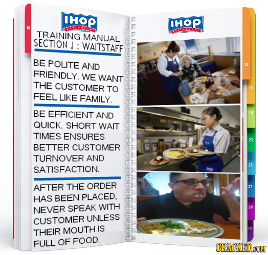 IHOP F: IHOP Du TRAINING MANUAL SECTION J: WAITSTAFF BE POLITE AND FRIENDLY. WE WANT THE CUSTOMER TO FEEL LIKE FAMILY. BE EFFICIENT AND QUICK. SHORT W