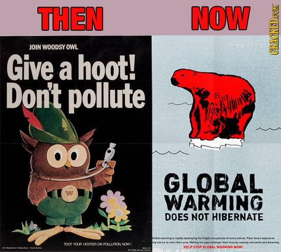 THEN NOW JOIN WOODSY OWL Give GRADA a hoot! Don't pollute GLOBAL WARMING DOES NOT HIBERNATE TOOT YOUR HOOTERON POLLUTION NOWT OLOBAL WARENE NOW