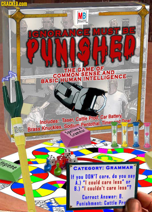 CRACKED.cOM MB PARANOWIITAFEAATE BE PUNISHEP IGNORANCE MUST OF THE GAME COMMON SENSEGENCE BASIC HUMAN Prod, Car Battery, Includes: Taser, Cattle nd Di