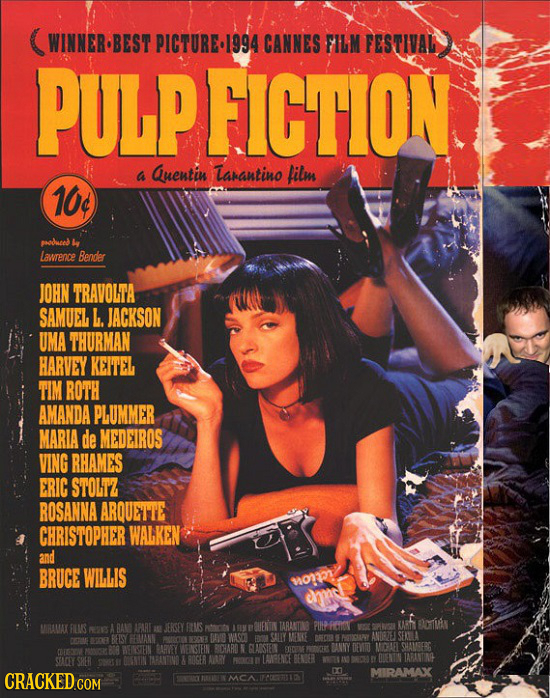WINNER BEST PICTURE994 CANNES FILM FESTIVAL PULPFICTION a Quentin arantino film 10c oduced Lawrence Bendler JOHN TRAVOLTA SAMUEL L. JACKSON UMA THURMA