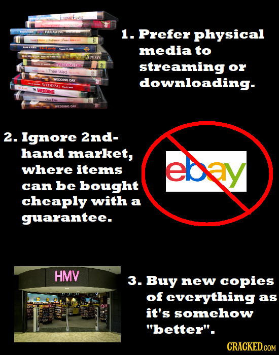 Fune IVRTLASTIRT 1. Prefer physical E media to WEDDINGDAC streaming or WEDDING DAY downloading. wrV WEDDING 2. Ignore 2nd- hand market, eb3y where ite