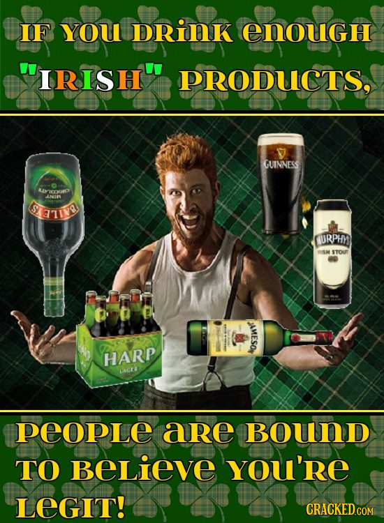 IF YOU DRINK EnougH IRISH PRODUCTS. GUINNESS cxP INIW TIN URPHY RISH STOUT JAMESON HARP LAER PEOPLE are BouND TO BELieve YOu'RE LEGIT!