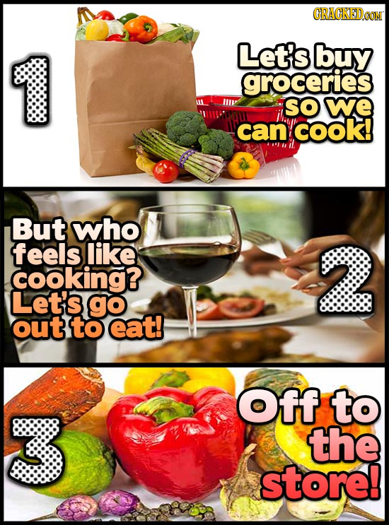 Let's buy groceries SO we can COok! But who feels like 2 cooking? Let's go out to eat! Off to the store!