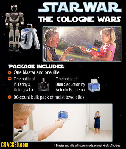 STARWAR THE COLOGNE WARS PACKAGE INCLUDES: One blaster and one rifle One bottle of One bottle of P Diddy's, Blue Seduction by Unforgivable Antonio Ban