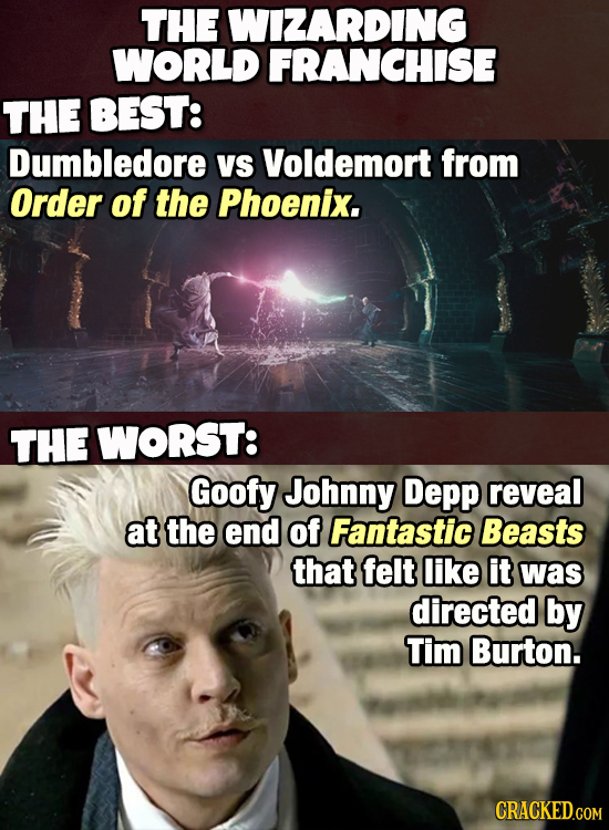 THE WIZARDING WORLD FRANCHISE THE BEST: Dumbledore VS Voldemort from Order of the Phoenix. THE WORST: Goofy Johnny Depp reveal at the end of Fantastic