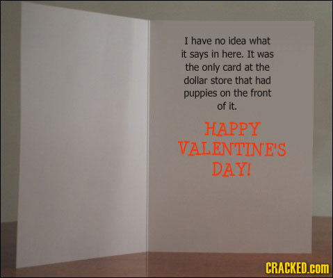 I have no idea what it says in here. It was the only card at the dollar store that had puppies on the front of it. HAPPY VALENTINE'S DAY! CRACKED.cOM