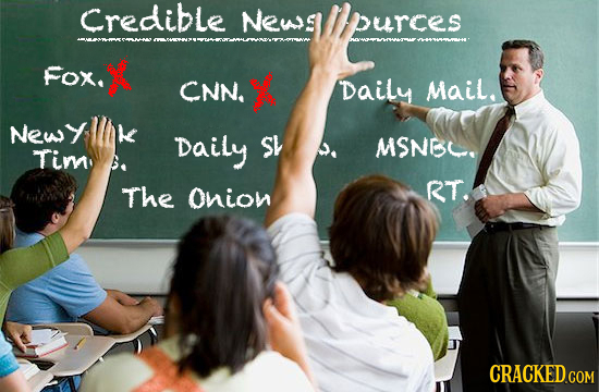 Credible News purces Fox. CNN. Daily Mail. Newy Daily sh D MSNBC. Timn: The OniON RT. CRACKED GOM
