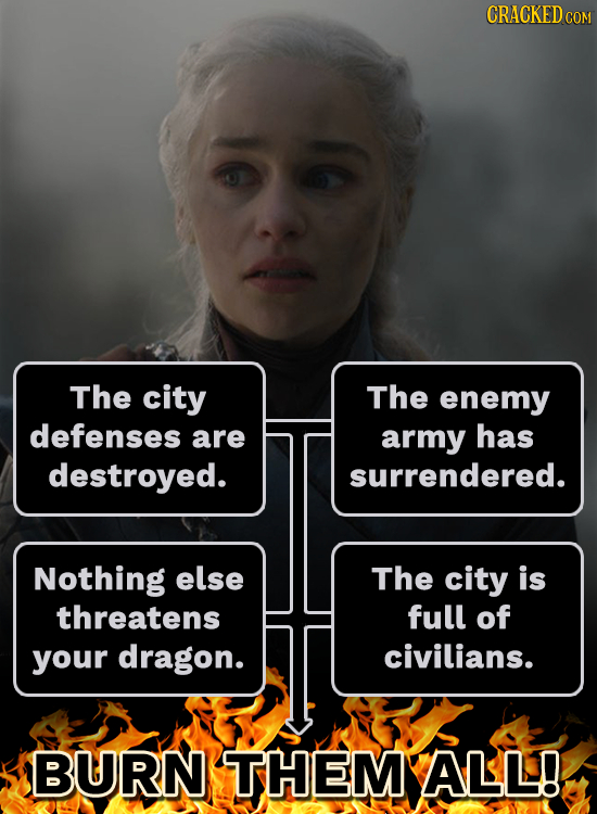 CRACKEDcO The city The enemy defenses are army has destroyed. surrendered. Nothing else The city is threatens full of your dragon. civilians. BURN THE