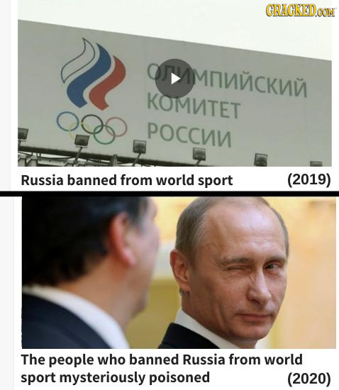 CRACKED.OON OMNMCKU KOMNTET POCCNN Russia banned from world sport (2019) The people who banned Russia from world sport mysteriously poisoned (2020)