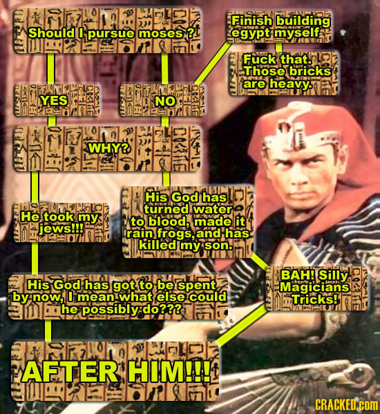 Finish building Should pursue moses ? egypt myself Fuck that. LOY Those bricks are heavy. YES NO nm rz 0 WHY? His God has turned water He took my to b