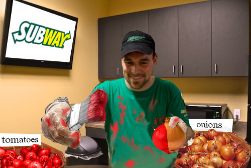 SUBWAY ar onions tomatoes